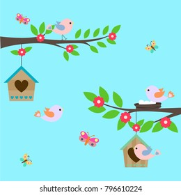 Vector illustration with birds on the nest in flat style
