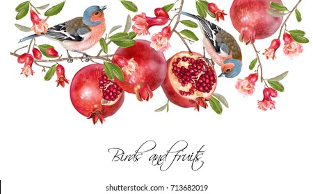 Vector illustration with birds on a pomegranate branch with fruits and flowers isolated on white. Design element for wedding, birthday, halal cosmetics. Can be used for poster, invitation or scrapbook