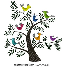 Vector illustration of birds on the tree, color picture