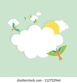 Vector Illustration of birds and rainbow in a cloud shape banner.