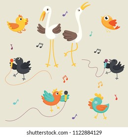 Vector Illustration Of Birds Singing