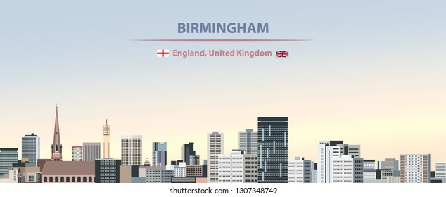 Vector illustration of Birmingham city skyline on colorful gradient beautiful day sky background with flags of England and united Kingdom