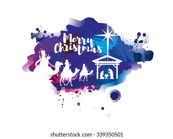 vector illustration Birth of Christ, baby Jesus reaching the Magi bear gifts, three wise kings and star of bethlehem, nativity christmas graphics design elements