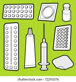 Vector illustration of birth control medicine