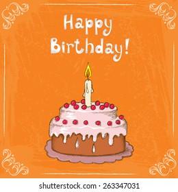 Vector illustration with birthday cake