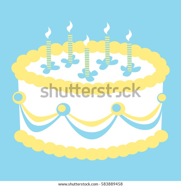 Brilliant Vector Illustration Birthday Cake Candles Fancy Stock Vector Personalised Birthday Cards Veneteletsinfo