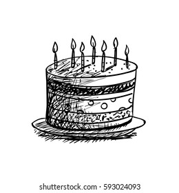 Superb Birthday Cake Draw Images Stock Photos Vectors Shutterstock Funny Birthday Cards Online Alyptdamsfinfo