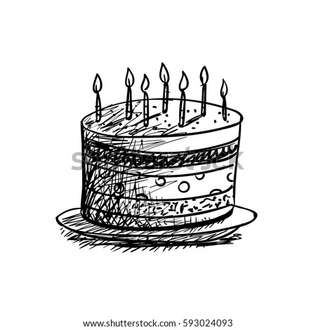 Vector Illustration Birthday Cake Drawing Stock Vector Royalty Free