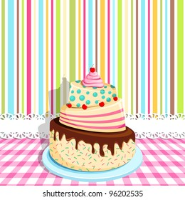 vector illustration of birthday cake on colorful backdrop
