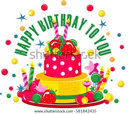 Vector Illustration Of Birthday Cake And Sweets For On A White Background