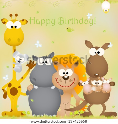 Vector Illustration Birthday Card Animal Bug Theme Elements For Cards And Wallpaper