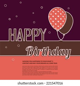 Vintage Happy Hour Invitation Edit Artist Similar Save Vector Illustration Birthday Card With Balloons And Text