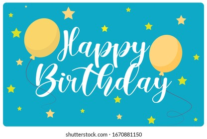 Vector illustration of a birthday card or a birthday banner with balloons and stars.