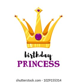 Vector Illustration. Birthday card with cartoon crown