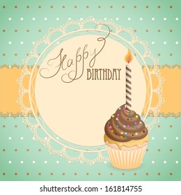 French birthday cards images stock photos vectors shutterstock vector illustration birthday card with cupcake on the vintage background eps10 m4hsunfo