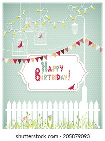Vector illustration of a birthday card template with tender white frames, fence, lamp, bird cages on a polka dotted background. Vintage style.