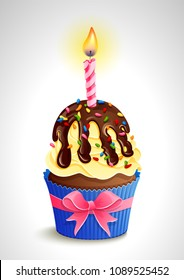 Vector illustration -  birthday cupcake with candle and bow. eps10.