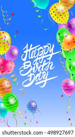 vector illustration birthday greeting card with calligraphy text, balloons and ribbons