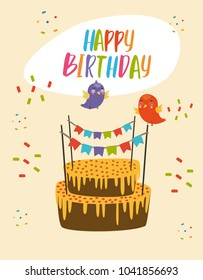 vector illustration  birthday party. holiday for children. cake and birds