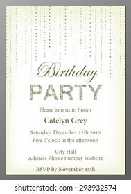 Vector illustration of birthday party invitation design template with glittering decoration