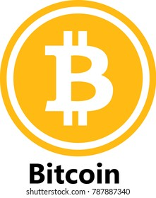 Vector Illustration Of Bitcoin / BTC Cryptocurrency Coin / Virtual Money Icon / Logotype In Color