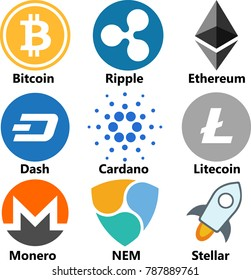 Vector Illustration Of Bitcoin BTC, Ripple XRP, Ethereum ETH, Dash, Cardano ADA, Litecoin LTC, Monero XMR, NEM, Stellar XLM Cryptocurrency Coin / Virtual Money Icon / Logotype Set /Collection In Color