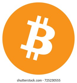 Vector illustration Bitcoin crypto currency blockchain flat logo isolated on white background. Block chain bitcoin sticker for web or print. Bitcoin logo.