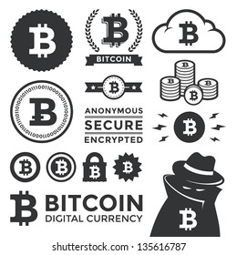 Vector illustration of bitcoin design elements, badges, labels, and icons. Includes a shading criminal to represent the anonymous, black market aspect of the currency. Eps10.