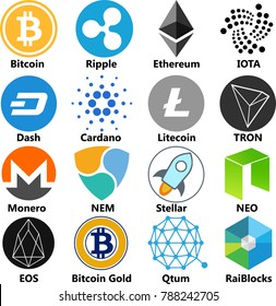 Vector Illustration Of Bitcoin, Ripple, Ethereum, Dash, Cardano, Litecoin, Monero, NEM, Stellar, IOTA, TRON, NEO, EOS, Bitcoin Gold, Qtum, RaiBlocks Cryptocoin / Virtual Money Icon / Logo Set In Color