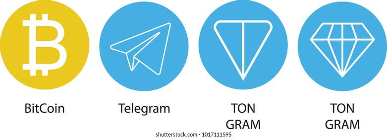 Vector Illustration of Bitcoin, Telegram and TON / Telegram Cryptocurrency Coin / Virtual Money Icon / Logotype In Color