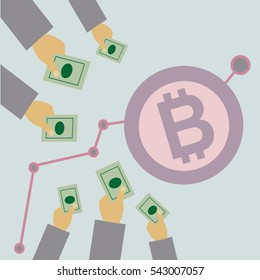 Vector illustration bitcoin webmoney crowdfunding, startup, hands giving dollars for the growth of capital, investment