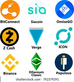 Vector Illustration Of BitConnect, BCC, Siacoin, OmiseGO, Z Cash, ZEC, Verge,  ICON, Binance, Ethereum Classic, ETC, Populous Cryptocurrency Coin,  Virtual Money Icon / Logo Set, Collection In Color