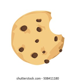 Vector illustration bitten chocolate chip cookie. Freshly baked choco cookie icon