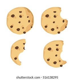 Vector illustration bitten chocolate chip cookie. Freshly baked choco cookie icon set