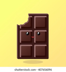 Vector illustration. Bitten chocolate, kawaii, cartoon style. The expression of emotions for design, art work, design cards and web pages.