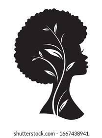 Vector illustration of black African American woman with afro hairstyle.