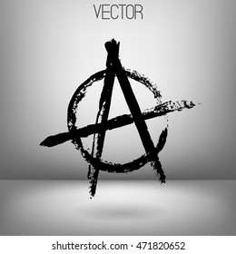 Vector illustration of black anarchy sign painted by dry brush. Hand drawn symbol. Grey background. Soft shadow, Textured element. Black lines. Punk. Protest.