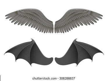Vector illustration of black angel and bat wings