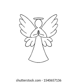 Vector illustration of black angel outline with wings on white background
