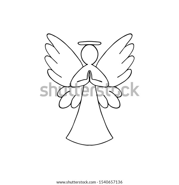 Vector Illustration Black Angel Outline Wings Stock Vector Royalty Free 1540657136