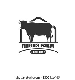 Vector Illustration. Black Angus logo design template. cow farm logo design. Retro Vintage Style