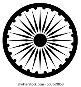 Vector illustration black Ashoka Wheel Indian symbol - Ashoka Chakra.