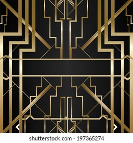 vector illustration of black background with gold inserts style Gatsby
