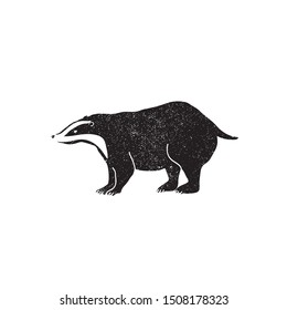 Vector illustration of black badger silhouette. Forest animal shape, logo/icon.