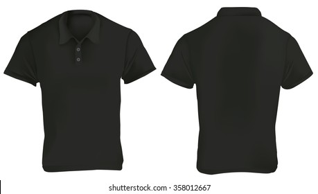 Vector illustration of black blank polo shirt template, front and back, realistic gradient mesh design, isolated on white
