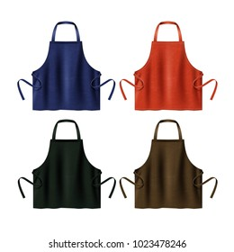 Vector illustration of black, blue, red and brown kitchen aprons. Template of protective uniforms, isolated on white background