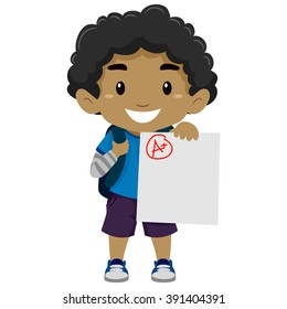Vector Illustration of a Black Boy showing his A plus Exam