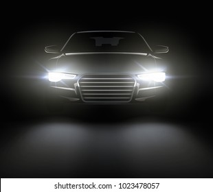 Vector illustration of black car with lights. Realistic composition of night scenery and stylish automobile silhouette with white headlights