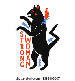 Vector illustration with black cartoon panther, naked young woman and lettering quote - Strong Woman. Inspirational typography poster, feminist apparel print design, funny trendy graphic art with text