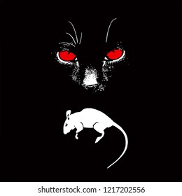 Vector illustration of a black cat with a red eye with a dead rat.